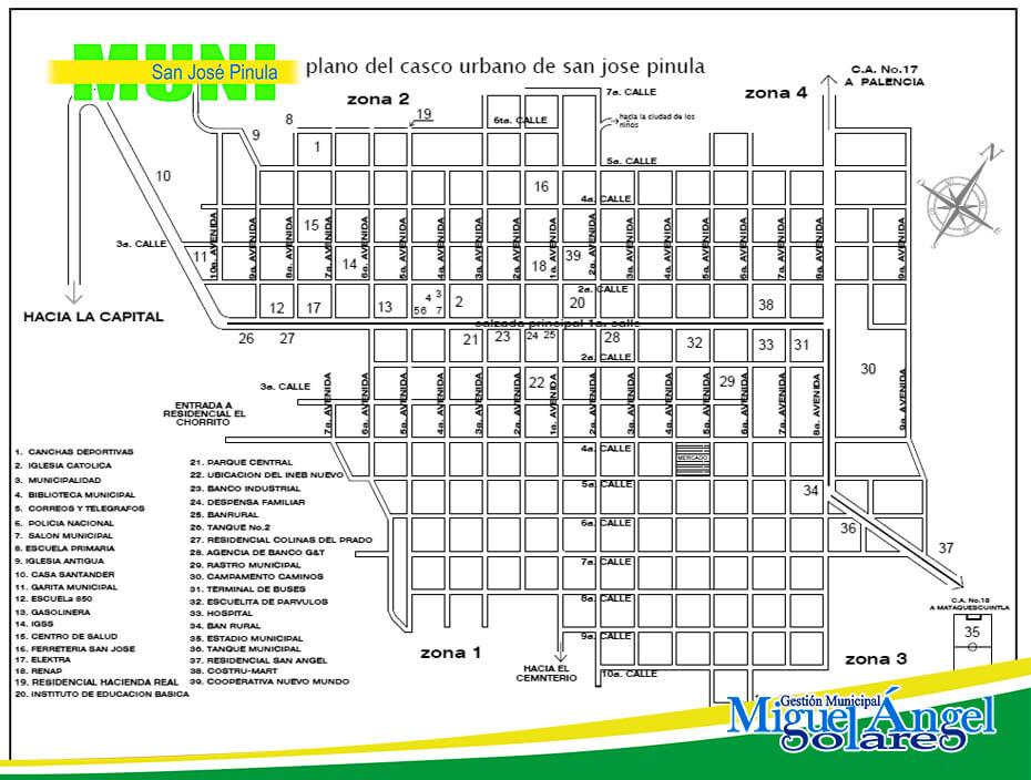 Mapa Casco Municipal San José Pinula