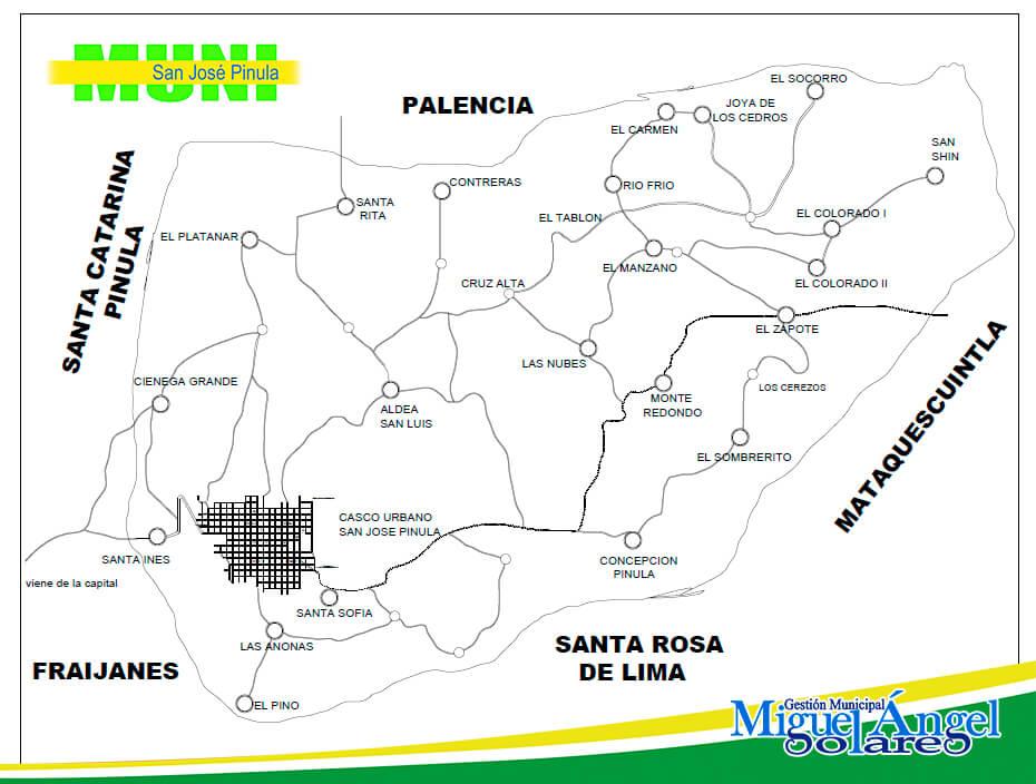 Mapa Municipio de San José Pinula