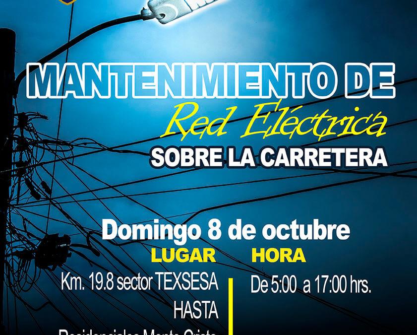 Trabajos de mantenimiento en la Red Eléctrica 8 de octubre 2017